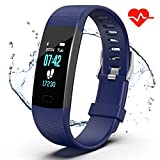 Apirka Fitness Tracker HR, Activity Tracker Watch with Heart Rate Monitor, IP67 Waterproof Pedometer. Sleep Monitor, Step Counter, Calories Counter for Women, Men, Kids (Blue)