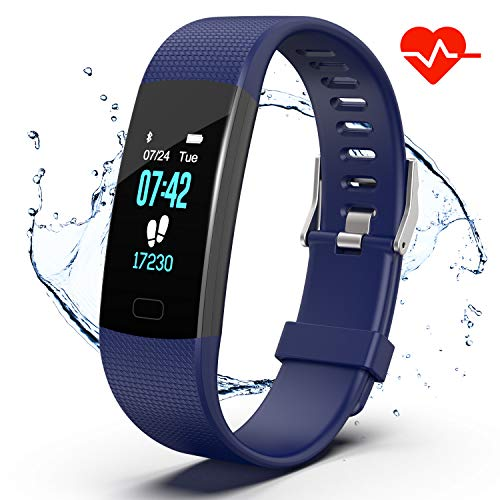 Vibration Watch Alarm Multi - Apirka Fitness Tracker HR, Activity Tracker Watch with Heart Rate Monitor, IP67 Waterproof Pedometer. Sleep Monitor, Step Counter, Calories Counter for Women, Men, Kids (Blue)