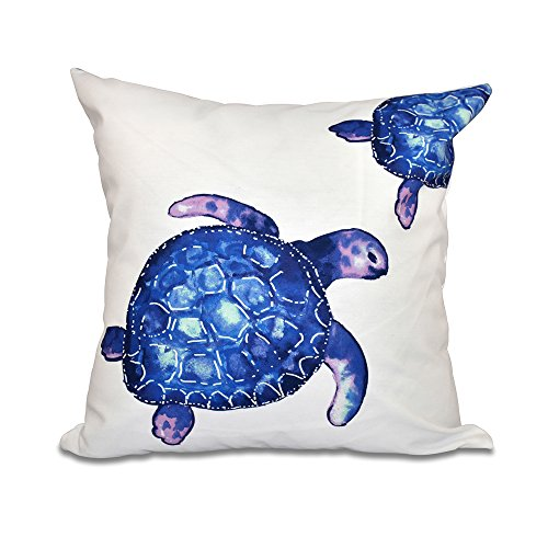 E by design 26 x 26 inch, Turtle Tales, Animal Print Pillow, White by E by design