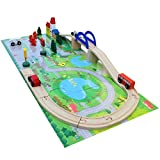 EA-STONE 52 Pcs Deluxe Wooden City Traffic Set,Wooden Train Track Blocks Puzzle Kids Gift