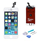 SANKA LCD Screen Display Digitizer Touch Screen Replacement Repair Kit Glass Frame Assembly Panel with Tools for iPhone 5S,White