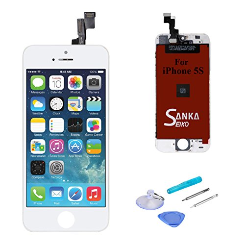 (SANKA iPhone SE LCD Display Screen Replacement Repair Kit, Digitizer Retina Touch Screen Glass Frame Assembly for iPhone SE - White (Repair Tools Included))