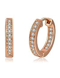 051fd070042f Oro Blanco Chapado Aretes con Diamante con Zirconia Cúbica
