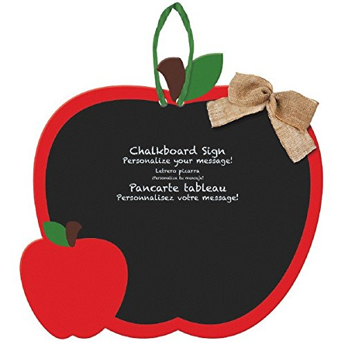 Amscan Welcome Fall Thanksgiving Party Apple Chalkboard Sign Decoration  (Pack Of 1), Black/Red, 12 3/4