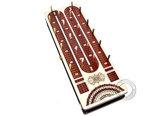House of Cribbage - Continuous Cribbage Board / Box inlaid in Maple Wood / Bloodwood : 4 Track with Score marking fields for Skunks, Corners, Won Games & Storage Space for Two Deck of Cards & Pegs ()