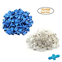 West Port 70 PCS Cat 6 RJ45 Modular Plug Connectors With 70 PCS Blue Soft Plastic Ethernet RJ45 Cable Connector Boots Plug Cover For Solid Cable Wires and Standard Cable