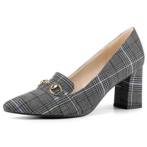 Allegra K Women's Pointed Toe Buckle Block Heel Plaid Grey Black Pumps - 9.5 M US