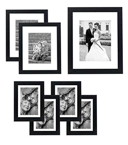 7 Piece Wall Frame, Top-Rated Set - Includes: 11x14 Inch with 8x10 inch matte opening, Two 8x10 inch with 5x7 matte openings, Four 5x7 inch with 4x6 inch matte opening