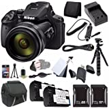 6Ave Nikon COOLPIX P900 16MP Digital Camera (International Model No Warranty) + EN-EL23 Battery + External Charger + 32GB SDHC Card + 64GB SDXC Card + Case + Mini Flexible Tripod + Saver Bundle