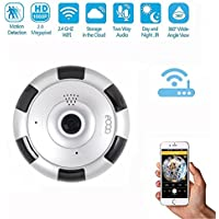 eoqo 1080P panoramic Home Security Wireless IP Camera 180°~ 360°View Angle Hidden Spy Camera with V380 APP Remote View Motion Detection(Silver)