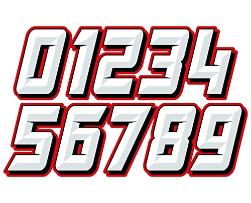 MX & ATV Number Plate Decals | Set of 3 Multicolored Race Numbers | You Pick Your Number & Color | MxNumbers Chiseled Design ()