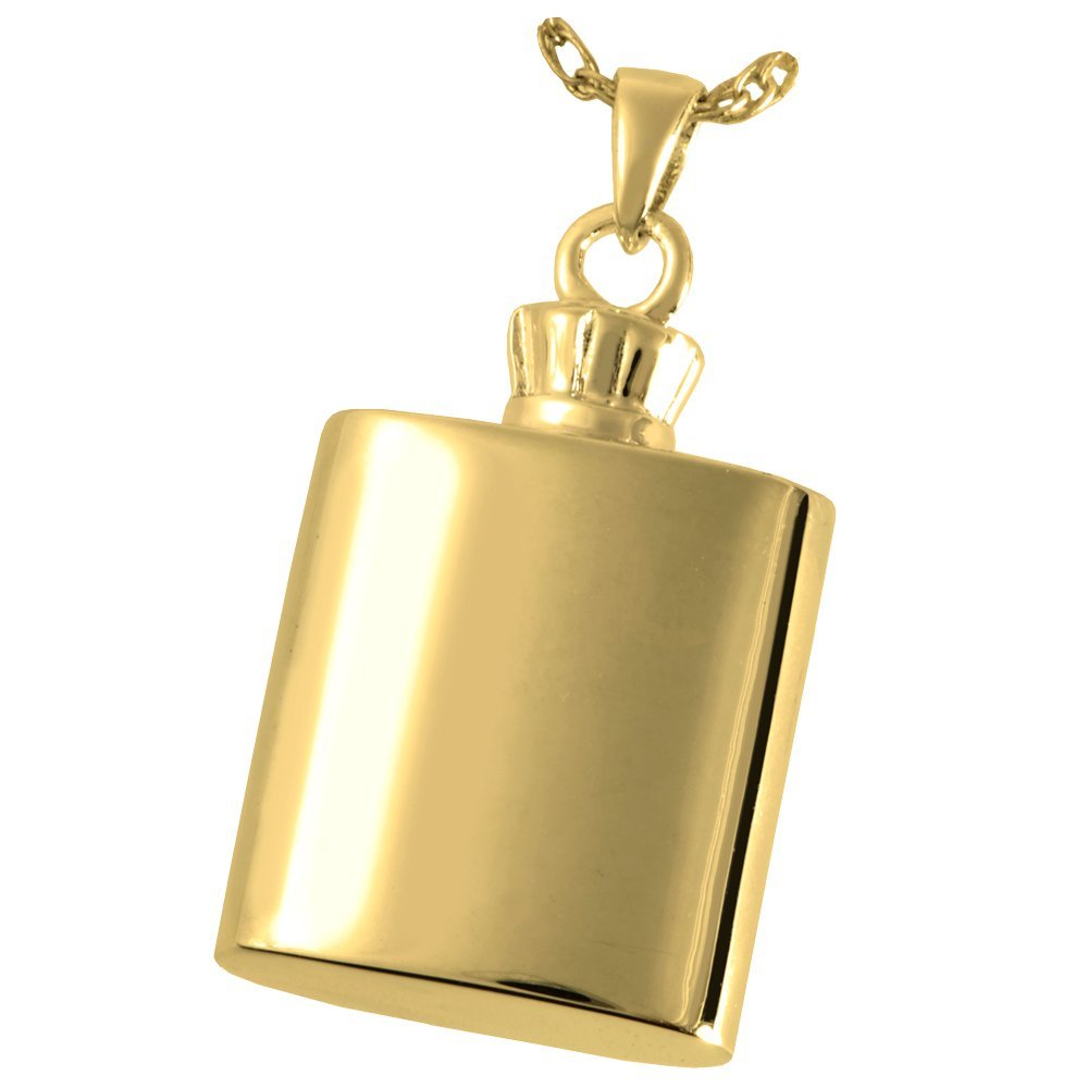 Memorial Gallery 3335gp Flask 14K Gold//Sterling Silver Plating Cremation Pet Jewelry