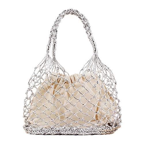 Women Fashion Woven Tote Summer Beach Straw Handbag Travel Shopper Shoulder Bags Silver (W)28X(H)35cm