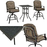 3-Piece Outdoor Bistro Set Steel Metal Frame with Fabric Cushions Modern Tall Square Glass Top Table and Two Swiveling Chairs Bar Height Heavy Duty Patio Garden Bistro Set of 3 eBook by Easy&FunDeals