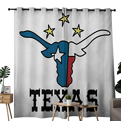 (NUOMANAN Window Curtain Fabric Texas Star,Doodle Style Buffalo Head with Horns Texas Flag and Vintage Letters Cowboy Theme,Multicolor,Rod Pocket Curtain Panels for Bedroom & Living Room 54