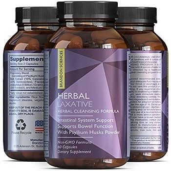 100% Herbal Laxative Capsules + Probiotics – Natural Colon Detox + Digestive Support + System Clean – Psyllium Husk Powder + Senna Leaf + Cascara Sagrada – Triple Herb Cleanse Pills – Brandon Sciences
