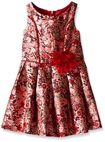 Bonnie Jean Girls Sleeveless Floral Brocade Party Dress, Red, (Brocade Party Dress)