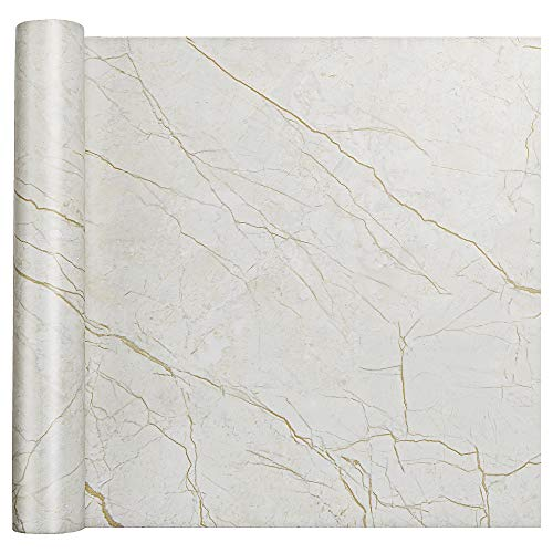 Homein Marble Self Adhesive Paper Gold 17x78.7in Peel and Stick Vinyl Film for Furniture Decorative Matte Granite Cover Waterproof Removable Wallpaper Roll for Countertops Cabinet Bathroom...