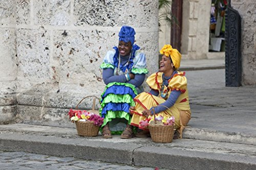 18 x 24 Art Canvas Print of Cubans dress up and pose for the tourist camera like these women on the Plaza de la Cathedral Square in Havana Cuba r20 2010 January 10 by Highsmith, Carol (Cathedral Plaza)