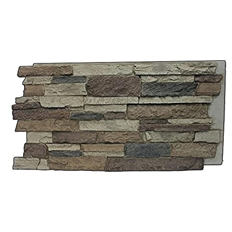 Superior Building Supplies Rustic Lodge 24-3/4 in. x 48-3/4 in. x 1-1/4 in. Faux Mountain Ledge Stone - Faux Stone Siding