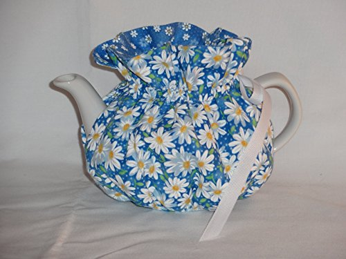 2 Cup White Daisies on Blue Reversible Tea Pot (Blue Daisies Cup)