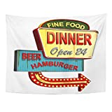TOMPOP Tapestry American Diner Old Signage Vintage Metal Sign Fast Food Home Decor Wall Hanging for Living Room Bedroom Dorm 60x80 Inches