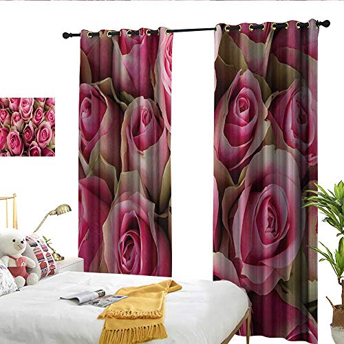 WinfreyDecor Rose Blackout Curtains Blooming Pink Roses Festive Bridal Bouquet Romance Sweetheart Love Valentines Set of Two Panels W120 x L96