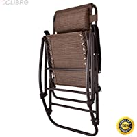 COLIBROX--Folding Rocking Chair Porch Patio Indoor Foldable Rocker Seat With Headrest. Sturdy And Stable Steel Material, Convenient To Use, 250lbs. Weight Capacity.