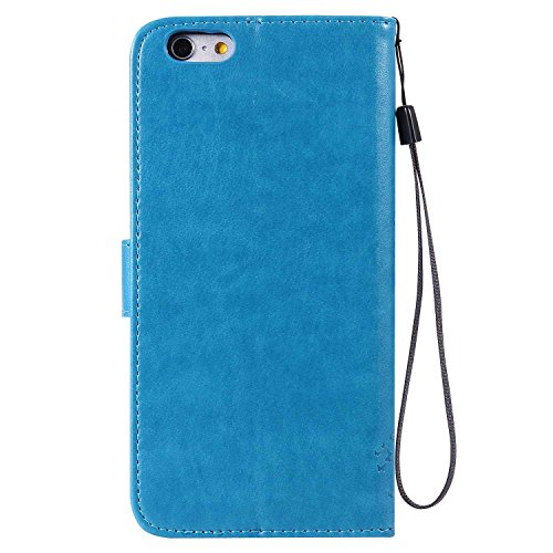 新しい意味施し道徳のiPhone 8 Plus ケース iPhone 7 Plus ケース Conber PUレザー 手帳型 軽量 超薄型 耐衝撃 財布型 カバー Apple iPhone 8 Plus/7 Plus 用 スタンド機能 カード収納 全面保護 猫と木 ケース - ブルー