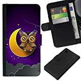 Good Phone Accessory // Leather Wallet Protective Case Card Money Holder Cover for Sony Xperia Z1 L39 // Awesome Owl On The Moon