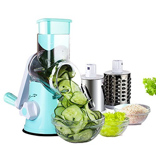 Fecihor Round Manual Mandoline Slicer Vegetable Cutter Salad Choppers Potato Julienne Cheese Grater Stainless Steel Blades Kitchen Tool With 3 Rotary DrumBlue