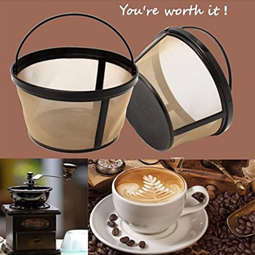 8-12 Cup Basket Style Permanent Gold Tone Coffee Filter For Mr. Coffee Cup Coffeemakers,Tuscom (Gold)