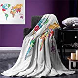 smallbeefly World Map Digital Printing Blanket World Map Names The Countries Europe America Africa Asia Graphic Style Summer Quilt Comforter 80''x60'' Multicolor