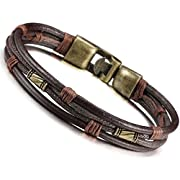 Amazon Lightning Deal 99% claimed: Jstyle Mens Vintage Leather Wrist Band Brown Rope Bracelet Bangle