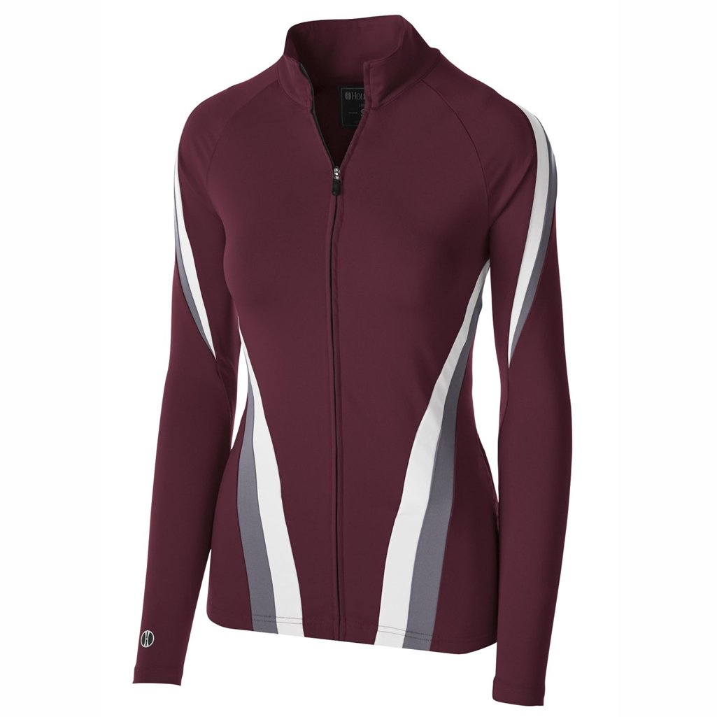 Holloway Dry Excel Ladies Aerial Semi Fitted Jacket (X-Large, Maroon/Graphite/White) by Holloway