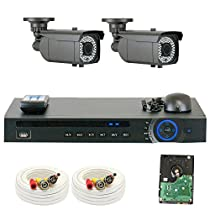 GW Security 1080P HD-CVI 4 Channel Video Security Camera System - Two 2MP Weatherproof 2.8-12mm Varifocal Zoom Bullet Cameras, 64-IR LED 180ft Night Vision, Long Distance Transmit Range (984ft), Pre-Installed 500GB HDD