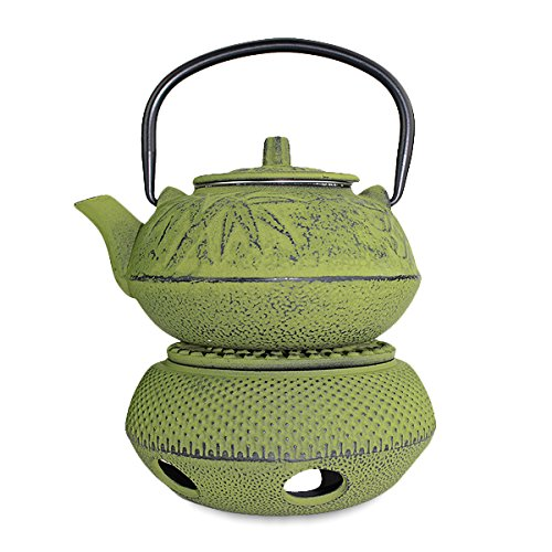 Iron tea pot + Warmer ~ Japanese Antique 24 fl oz Green Pine Plum Bamboo Cast Iron Teapot Tetsubin with Infuser(F15336+F15364-1) teaaana price $90 ~ We Pay Your Sales Tax (Tetsubin Warmer)