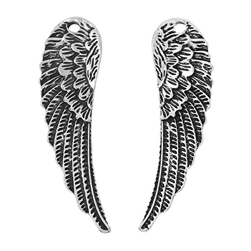 Large Wing Charm Pendant 2-inch Antiqued Silver Steampunk Double Sided 10 (Making Angel Wings For Costume)
