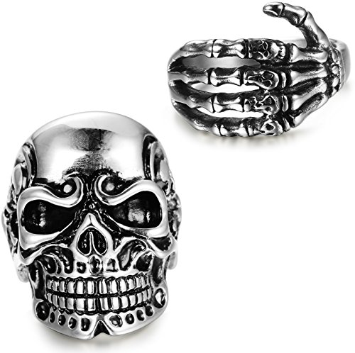 LOYALLOOK 2pcs Stainless Steel Vintage Gothic Rings for Men Women Skull Head/Skull Hand Bone Rings,Size 13