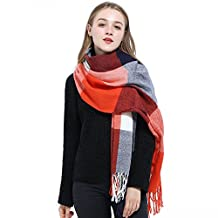 Blanket Scarf Women Plaid Scarf Pashmina Gray Red Winter Scarf Wrap Shawl for Women (A: Red Scarf)