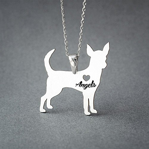 (Personalised Chihuahua Necklace - Chihuahua Name Jewelry - Dog Jewelry - Dog breed Necklace - Dog Necklaces)