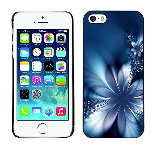 GooooStore/Housse Etui Cas Coque - Floral Petal Ice Flowers Blurry Blue - Apple iPhone 5 / 5S