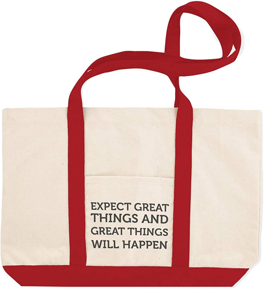 Canvas Shopping Tote Bag Expect Great Things Will Happen Great Things Beach for Women