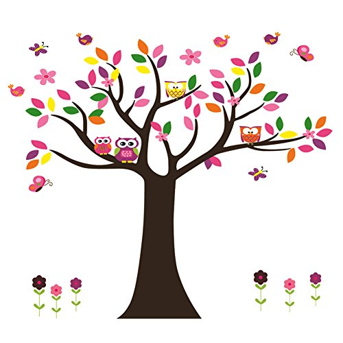 Nursery Decor Flowers Tree Wall Decal for Kids Playroom D...