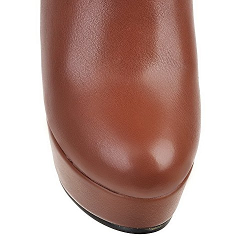 Solid Top Women's Brown PU Toe Round High Boots High Allhqfashion Heels Closed nZXdCqCwx8