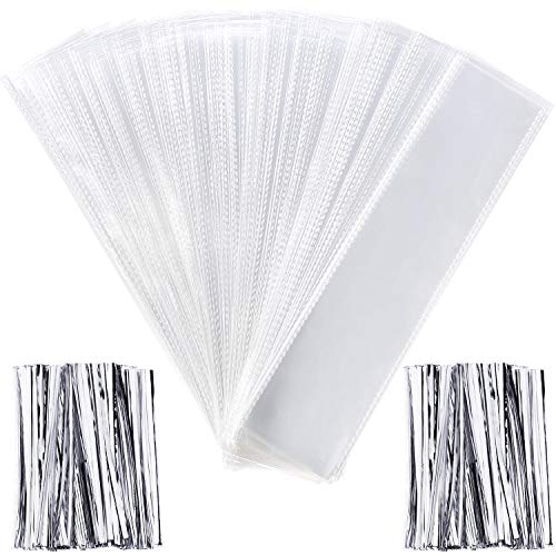 Pangda 200 Pieces Clear Cello Bags Plastic Treat Bags Rectangle Transparent Bags for Chocolate Candies Pretzel Cookies with 200 Pieces Twist Ties (Silver Ties)]()