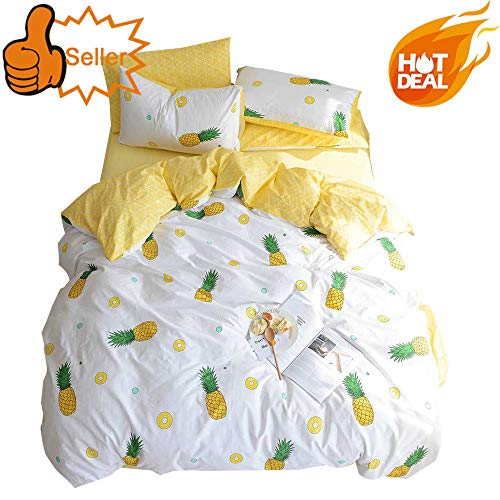 OTOB Fruit Pie Pineapple Printed 100% Cotton Luxury Soft Bedding Set Kids Bedding Duvet Cover Pillowcases Best Bedding for Kids Queen Size, No Comforter