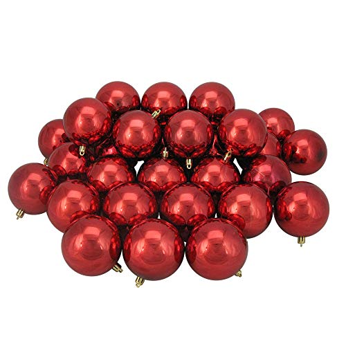 Northlight 32 Count Shiny Hot Shatterproof Christmas Ball Ornaments 3.25