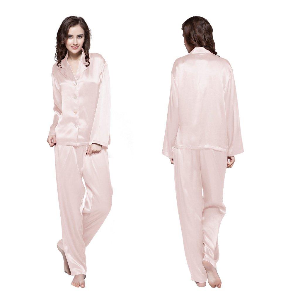 LilySilk Silk Women Pajama Sets 7pcs Hair Band and Hair Ties Short and Long Sets Sleepwear Ladies Light Pink XL/14-16 by LilySilk (Image #2)