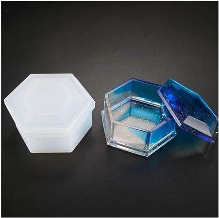 JINAN 3pcs / Box Set Resina Moldes, joyería de la Forma pentagonal Caja de moldes con Resina de Silicona del Molde: Amazon.es: Hogar